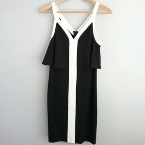 Bar III Black & White Slim Fit V-Neck Dress